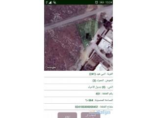 ارض للبيع مساحتها 665 متر في جرش حي الحمرا