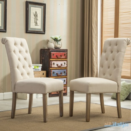 roundhill-furniture-habit-solid-wood-tufted-parsons-dining-chair-tan-set-of-2-big-0