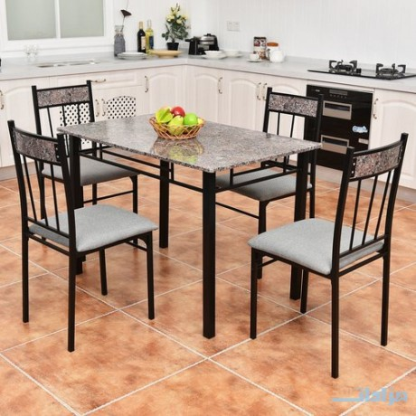 costway-5-piece-faux-marble-dining-set-table-and-4-chairs-kitchen-breakfast-furniture-big-0