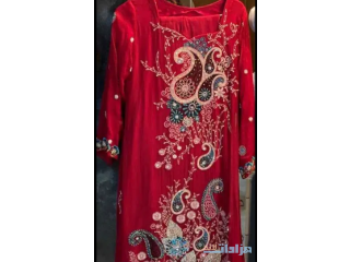 Red 3 piece pakistani suit