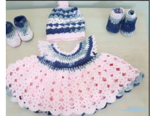 A beautiful Newly made for new born crochet dress set for baby girl