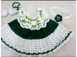 Newly made Beautiful crochet for new born baby girl dress set